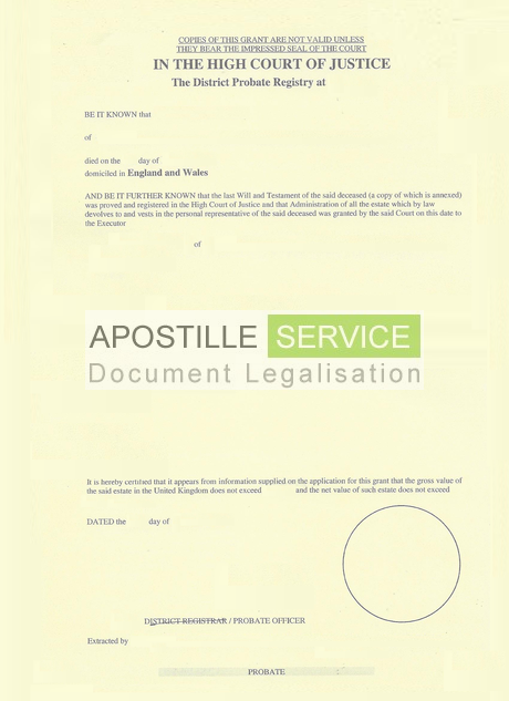 Apostille For Grant Of Probate