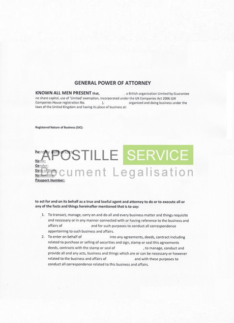 Apostille For A Power Of Attorney