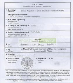 What is an apostille certificate the uk apostille service sample apostille certificate yelopaper Image collections