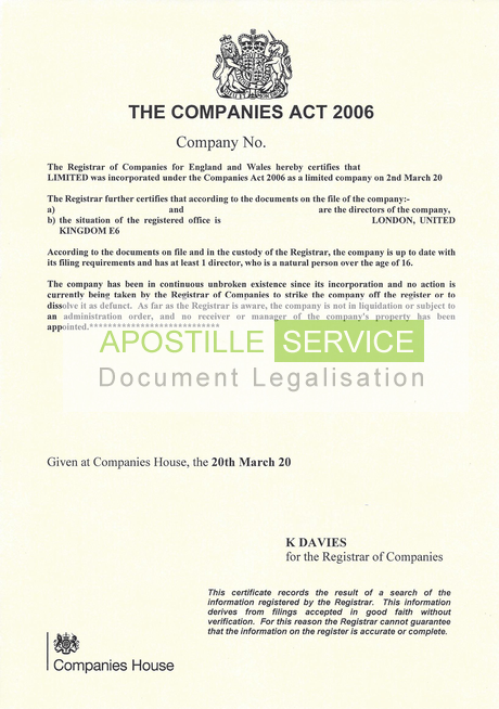 Apostille for certificate of good standing certificate of good standing yadclub Gallery