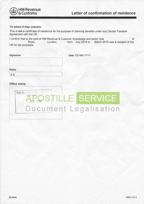 Uk apostille certificate service legalising documents for overseas hmrc confirmation of residency yelopaper Images