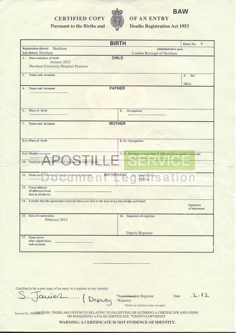 Apostille For Birth Certificates  Apostille Service