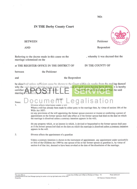 UK Apostille Certificate Service - Legalising doents for overseas on contract form, easement form, acknowledgment form, power of appointment form,
