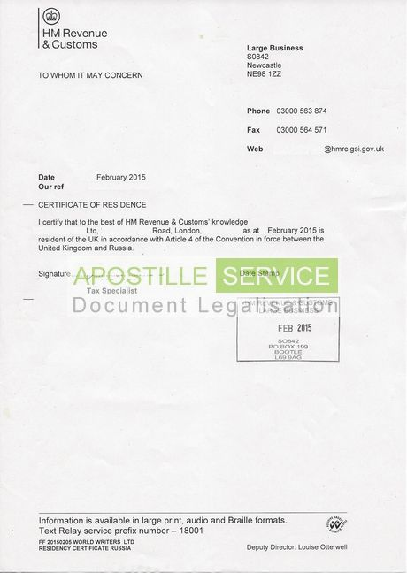 Apostille Service For Certificate Of Residence