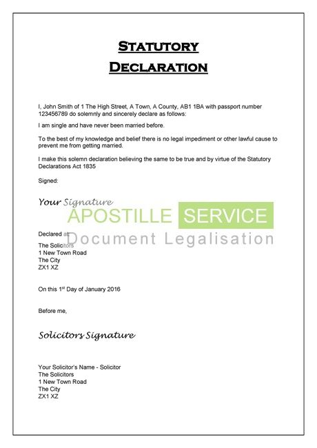 apostille for statutory declarations legalisation service